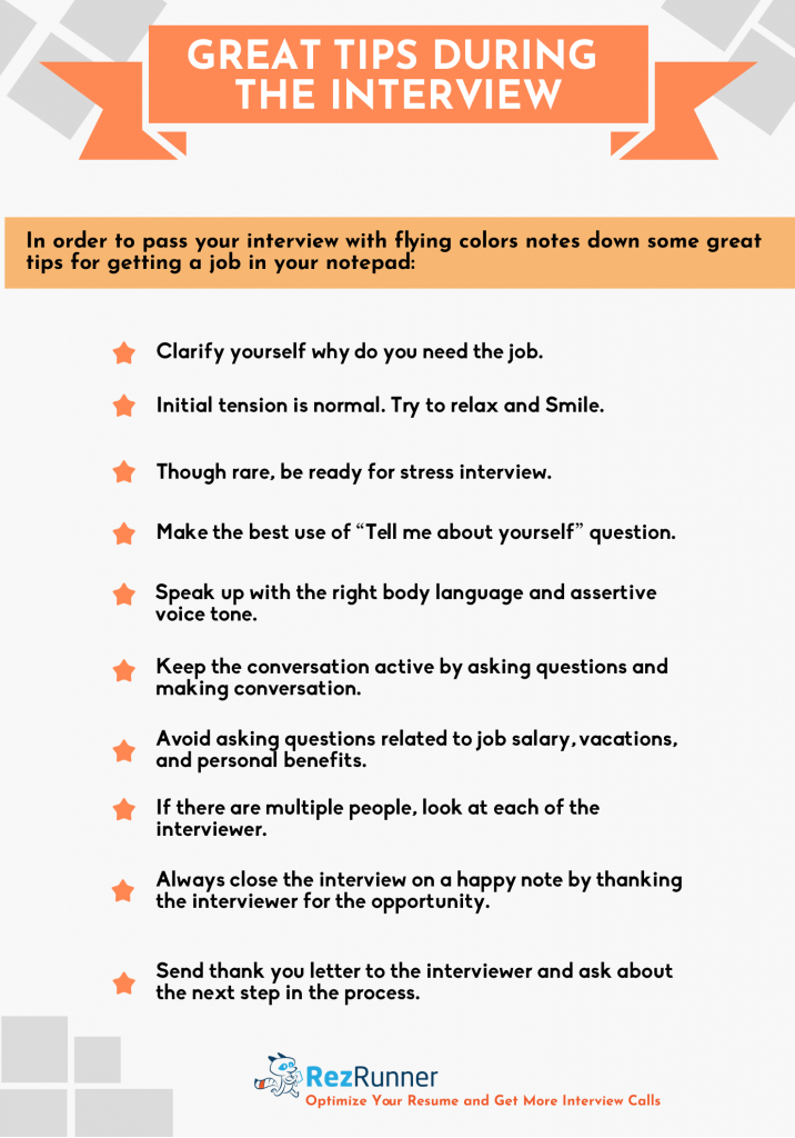 Tips during interview